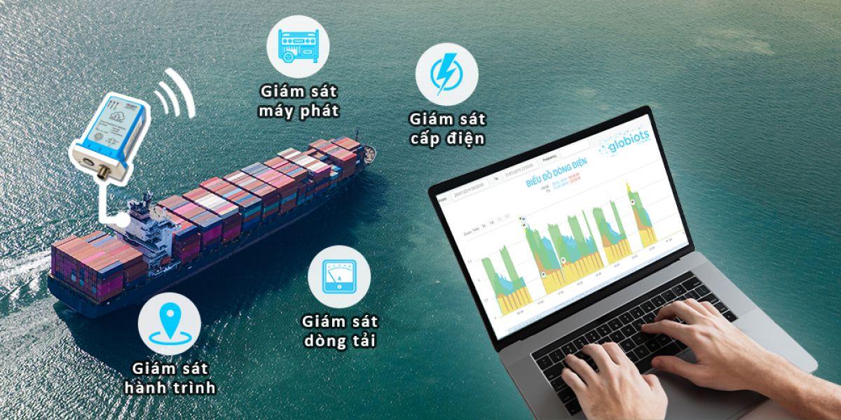 IoT Globiots giám sát cấp điện container lạnh trên sà lan